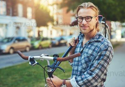 Portrait of blonde white man