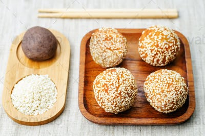 Chinese sesame balls with sweet red bean paste