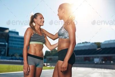 Professional sprinter talking on race track