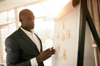 Business executive presenting his ideas on white board
