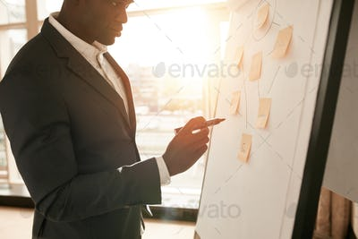 Businessman presenting his ideas on white board