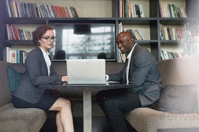 Businesswoman consulting her partner