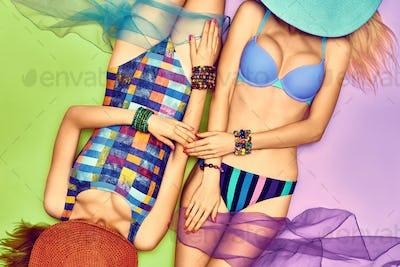Beauty woman body in fashion swimsuit, friends