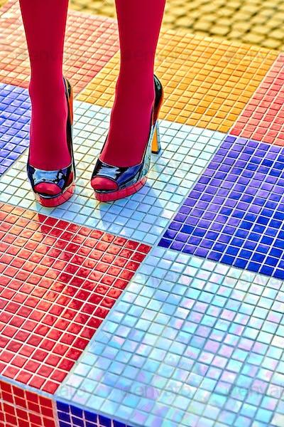 Fashion urban womens legs, heels. Vivid geometry