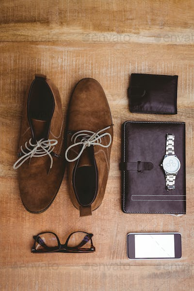 View of stuff for a businessman on wood plank