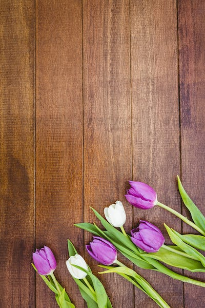 Few purple and white flowers on wood desk