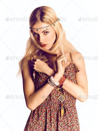 Beauty boho joyful blonde woman, happy, enjoying