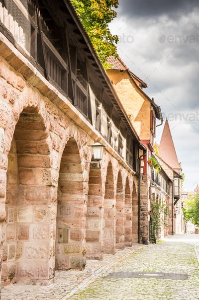 Medieval city wall in Nuernberg
