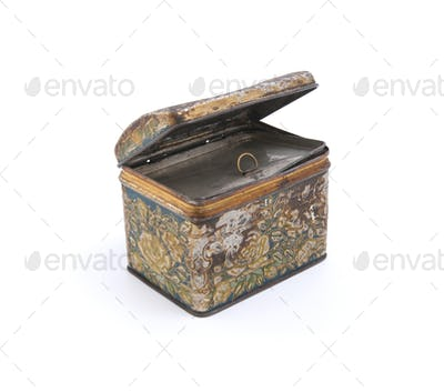 Old rusty metal box.