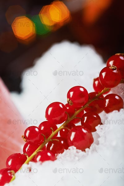 beautiful decoration for a cocktail at the bar: fresh berries with a nice bokeh. soft focus