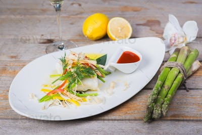 Steamed fillet of sea bass