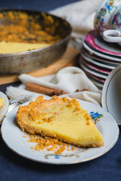 Delicious homemade cake filled with lemon and sweet milk with decor