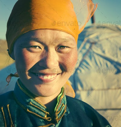 Mongolian Woman Traditional Dress Tranquil Solitude Concept