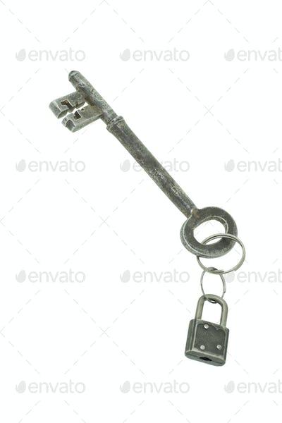 """Large """"jumbo"""" size old key with mini padlock"""
