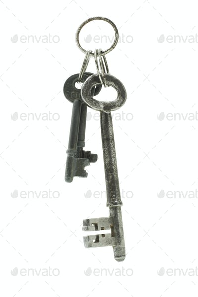 Old keys suspended in the air