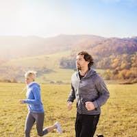 Beautiful couple running