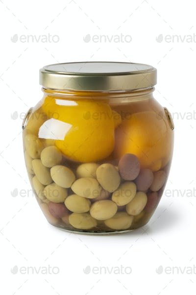 Moroccan jar with olives and lemons