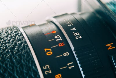 Old lens marking close up