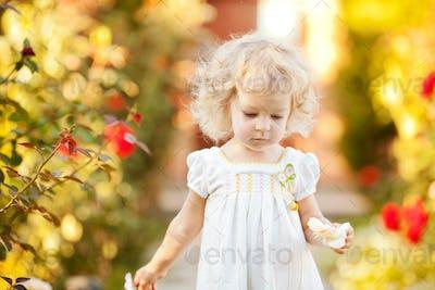 Beautiful child in garden