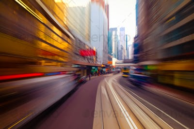 Moving through modern city street. Hong Kong