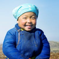 Young Tsaatan Girl Beautiful Northern Mongolia Concept