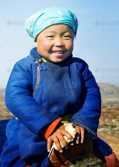 Young Tsaatan Girl Beautiful Northern Mongolia Concept