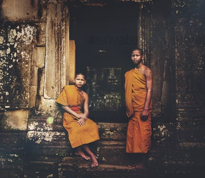 Serene Monk Angkor Wat Siam Reap Cambodia Concept