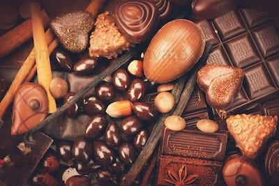Luxury chocolates background. Praline chocolate sweets