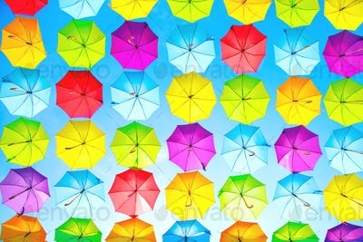 Colorful umbrellas urban street decoration