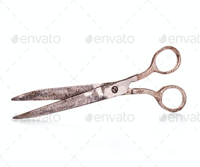 Vintage, old  scissors close-up isolated on a white background