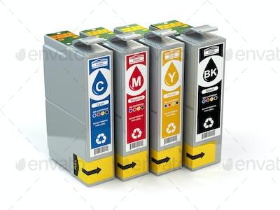Cartridges for colour inkjet printer. CMYK.