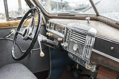 Interior of 1940s car