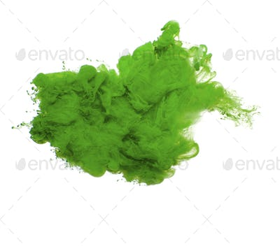 Abstract of green acrylic paint in water.