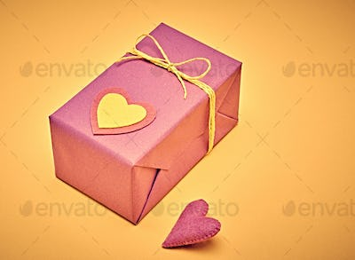 Love hearts, Valentines Day. Handcraft gift boxes