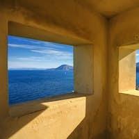 Elba island, Portoferraio aerial view from old windows. Lighthou