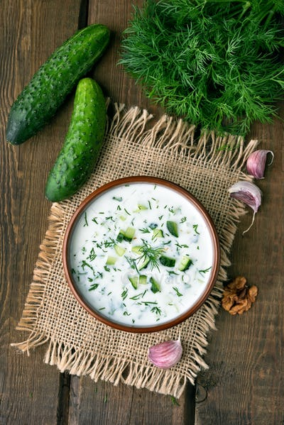 Cold soup with yogurt, cucumber and dill