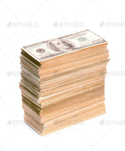 Big stack of dollar banknotes