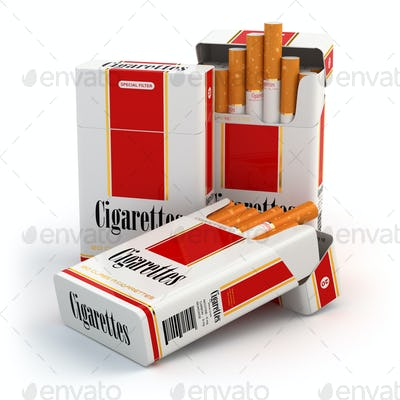 Cigarette pack on white isolated background