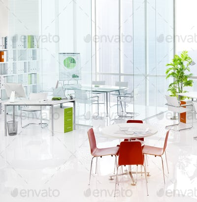 Office Green Business Working Area Meeting Table Concept
