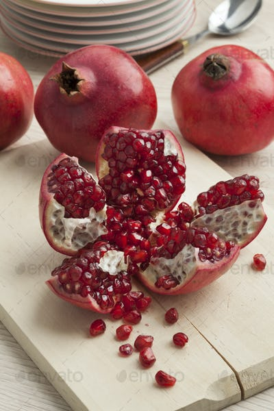 Open pomegranate fruit and seeds