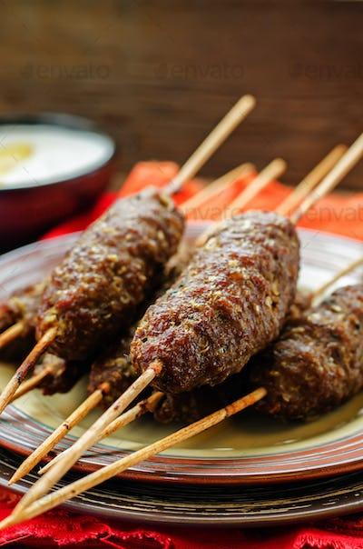 kebab skewers. meat cutlets