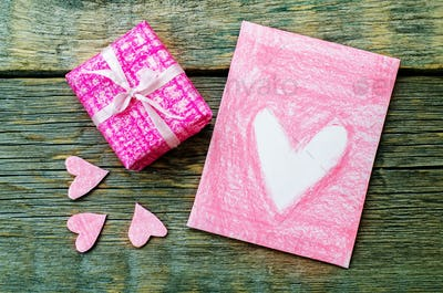 Valentine's background with a gift and card