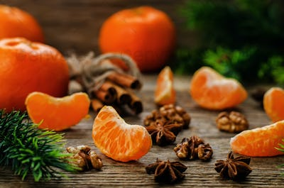 tangerines and ingredients for baking