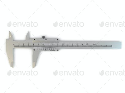 Trammel. Stainless steel caliper on white isolated background.