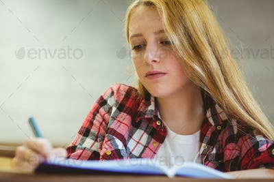 Focused student taking notes during class at the university