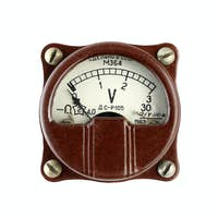 Old Voltmeter Isolated on White Background
