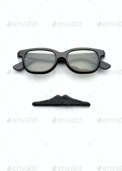 Glasses and mustache forming man face