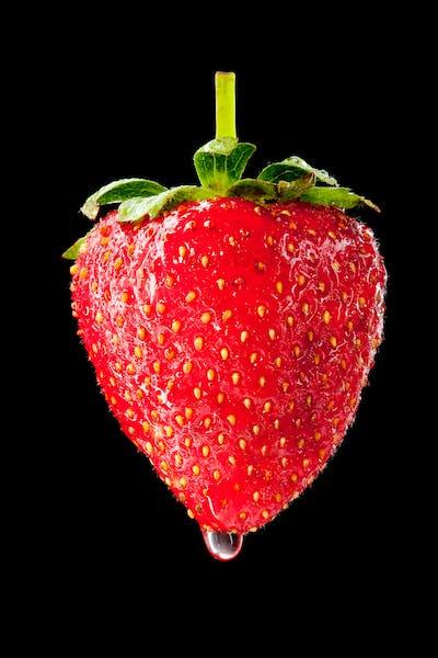Wet ripe strawberry