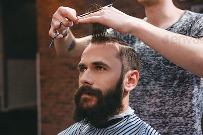 Handsome bearded man having haircut with comb and scissors