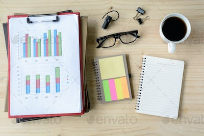 Desk office business financial Graph analysis with laptop